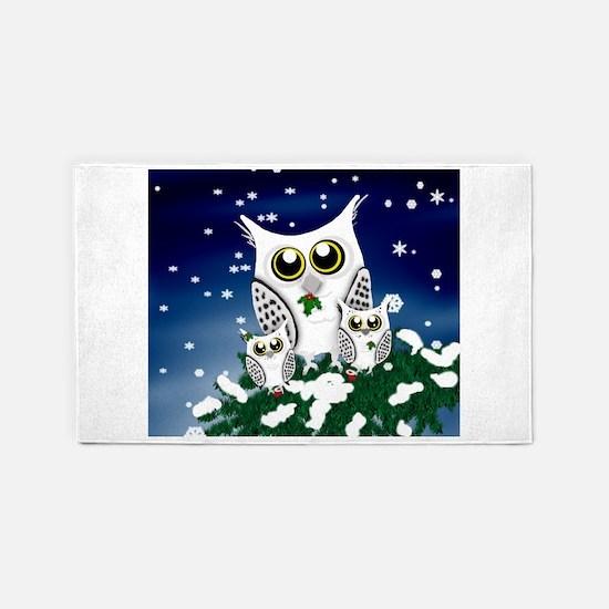 Christmas Snowy Owl family 3'x5' Area Rug
