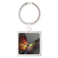 Multicolored Butterfly Square Keychain