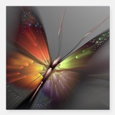 """Multicolored Butterfly Square Car Magnet 3"""" x 3"""""""