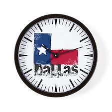 Dallas Grunge Flag Wall Clock