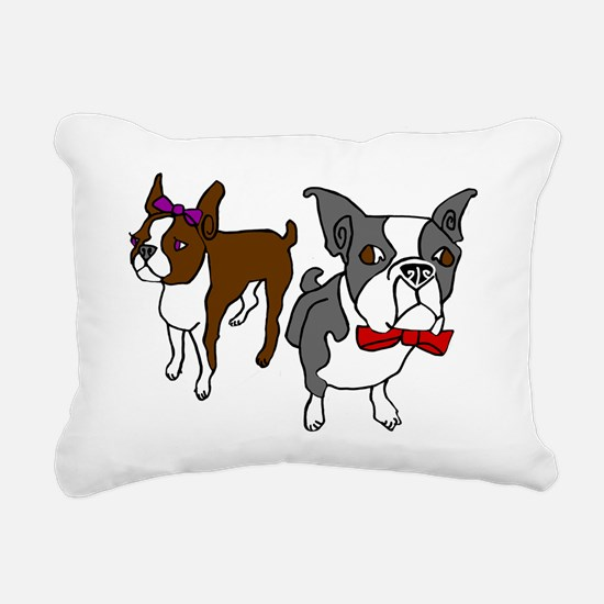 Dressed Up Bostons Rectangular Canvas Pillow