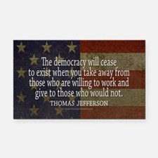 Democracy Quote Rectangle Car Magnet