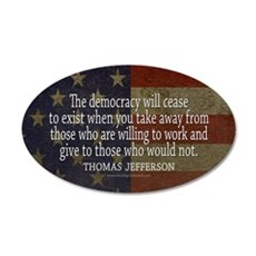 Democracy Quote 35x21 Oval Wall Decal