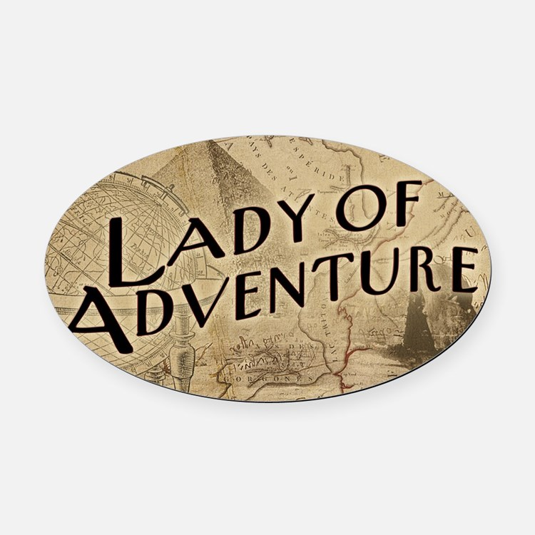 lady-of-adventure_11x18h Oval Car Magnet