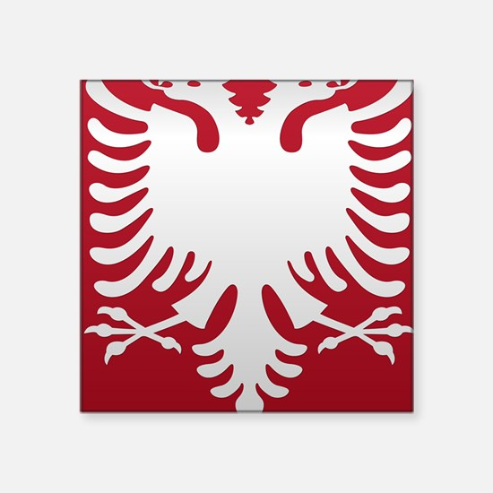 """Albanian Eagle White on Red Square Sticker 3"""" x 3"""""""