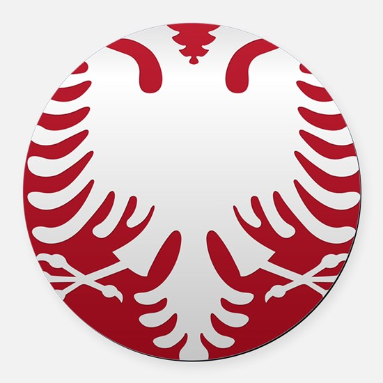 Albanian Eagle White on Red iPhon Round Car Magnet