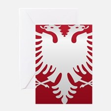 Albanian Eagle White on Red iPhone C Greeting Card