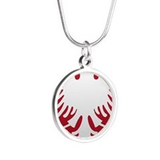 Albanian Eagle White on Red  Silver Round Necklace