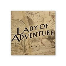 "lady-of-adventure_15x18h Square Sticker 3"" x 3"""