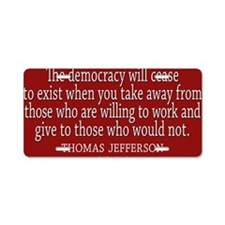 Democracy Quote Aluminum License Plate