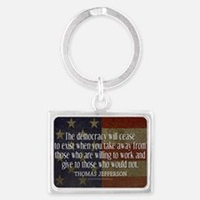 Democracy Quote Landscape Keychain