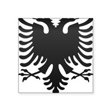 "Albanian Eagle Carbon Square Sticker 3"" x 3"""