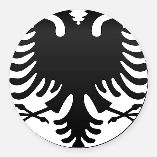 Albanian Eagle Carbon Round Car Magnet