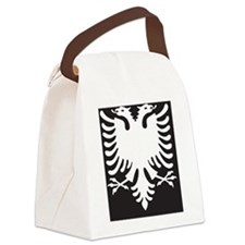 Albanian Eagle White on Black iPh Canvas Lunch Bag
