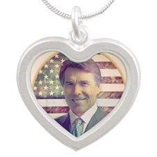 july11_retro_rick_perry Silver Heart Necklace