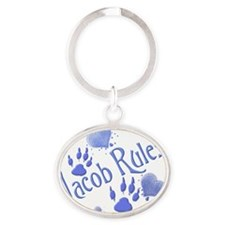 Jacob Blue Oval Keychain