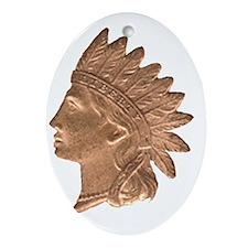 L_Indian_head01 Oval Ornament