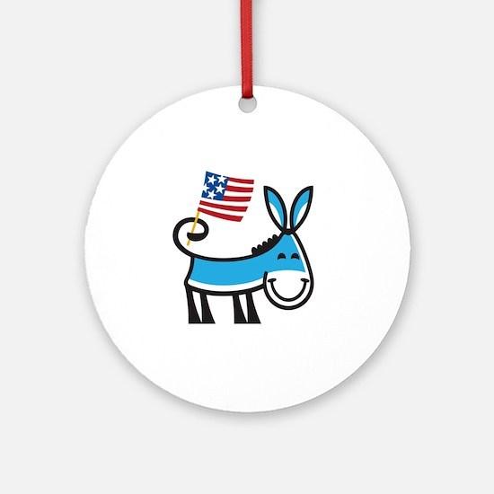 Democrat Donkey Round Ornament