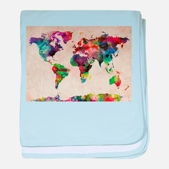 World Map Urban Watercolor 14x10.jpg baby blanket