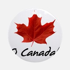 O-Canada-MapleLeaf-blackLetters cop Round Ornament