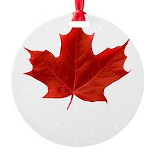 O-Canada-MapleLeaf-whiteLetters cop Round Ornament