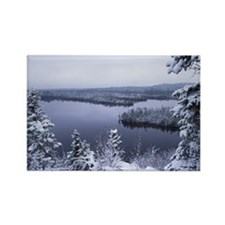 winter lake Rectangle Magnet
