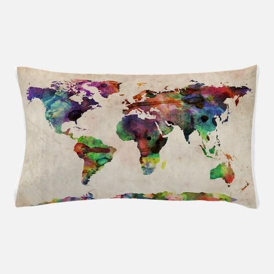 World Map Urban Watercolor 14x10.jpg Pillow Case