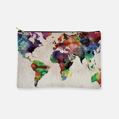 World Map Urban Watercolor 14x10.jpg Makeup Bag