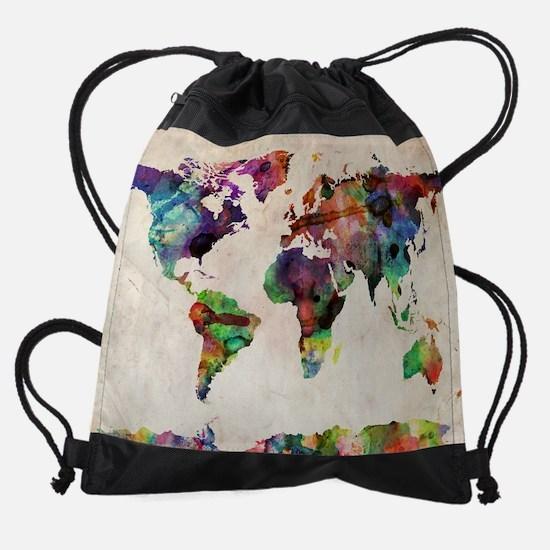 World Map Urban Watercolor 14x10.jp Drawstring Bag