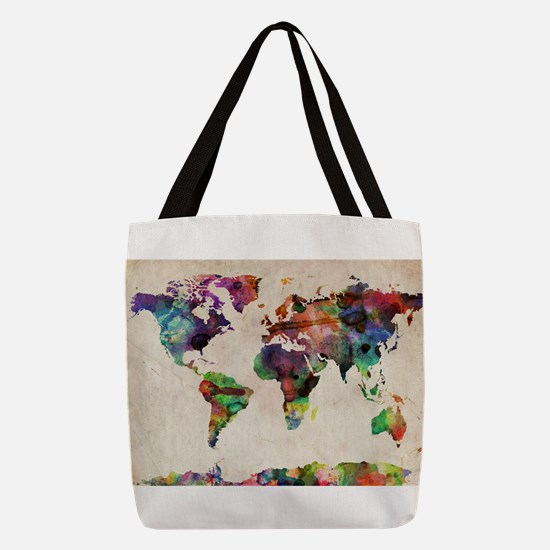 World Map Urban Watercolor 14x1 Polyester Tote Bag