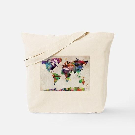 World Map Urban Watercolor 14x10.jpg Tote Bag