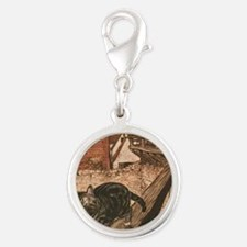 Rackham Cat and Mouse Silver Round Charm