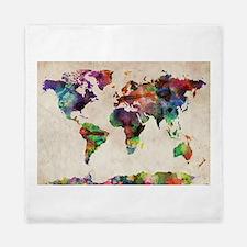 World Map Urban Watercolor 14x10.jpg Queen Duvet