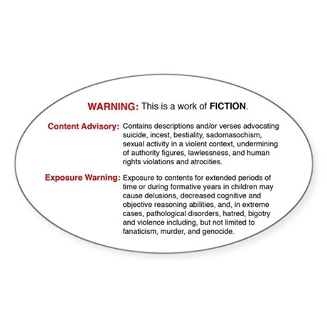 Bible Warning Oval Sticker