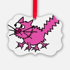 Scaredy Cat10x10pink Ornament