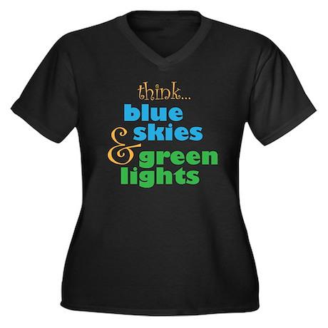 Think Skydiv Women's Plus Size V-Neck Dark T-Shirt