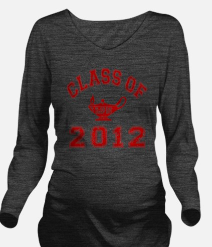 CO2012 LPN Red Distr Long Sleeve Maternity T-Shirt