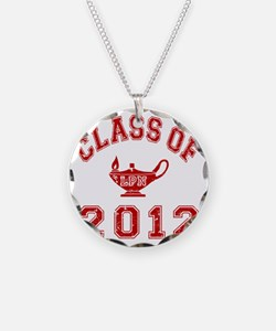 CO2012 LPN Red Distressed Necklace Circle Charm