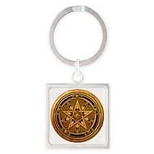 Masculine Gold Pentacle Square Keychain