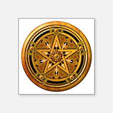 """Masculine Gold Pentacle Square Sticker 3"""" x 3"""""""