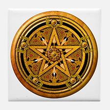 Masculine Gold Pentacle Tile Coaster