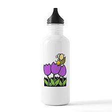 Bee Flowers Black Only Water Bottle