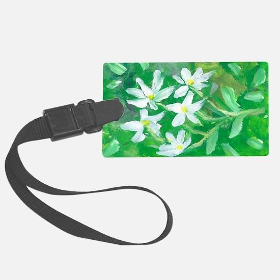 White Flowers Luggage Tag