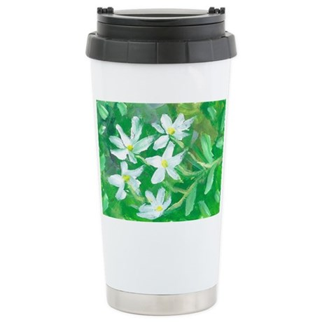 White Flowers Stainless Steel Travel Mug