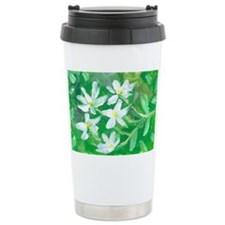 White Flowers Travel Mug