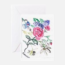 Flowers and Butterfly Greeting Card
