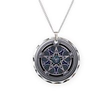 Feminine Silver Pentacle Necklace Circle Charm