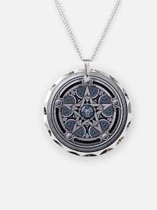 Feminine Silver Pentacle Necklace Circle Charm