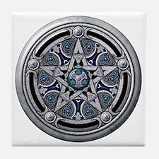 Feminine Silver Pentacle Tile Coaster