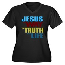 Jesus The Wa Women's Plus Size Dark V-Neck T-Shirt